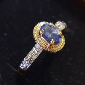 New 3/4 ct. Ring in Amethyst & Diamonds size: 7